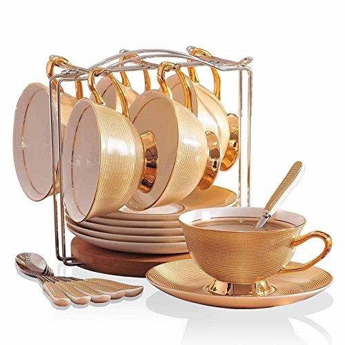 SSBY Soucoupe et tasse de café porcelaine de style européen situé, or céramique de thé tasse à thé, cadeau de mariage ad coupe