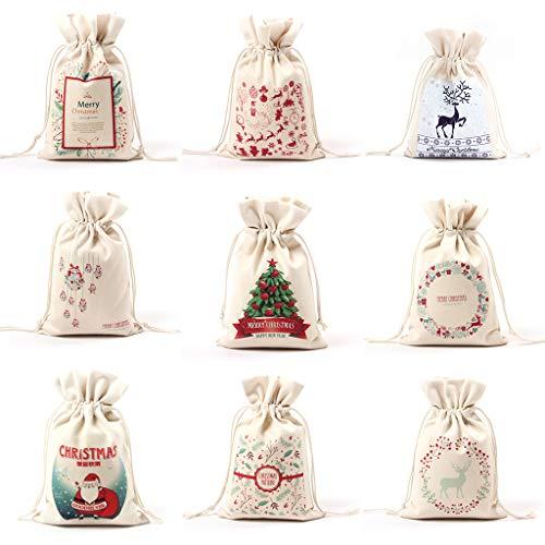 planuuik Canvas Trekkoord Tas Kerstmis Kleine Snoep Opslag Herbruikbaar