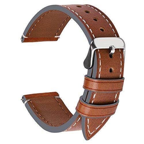 Fullmosa Ersatz Armbänder für Uhr in 6 Farben, Wax Series Echtes Leder Uhrenarmband 20mm/Watch Band für Damen&Herren,Dunkelbraun + Silber Schnalle