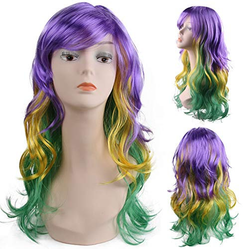 Yamissi Unisex Synthetic Hair Wig,Mardi Gras Synthetic Long Wavy Wig Costume Accessory for Costume Party Favors