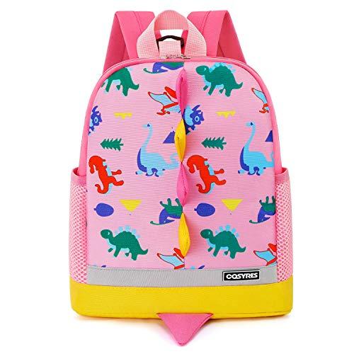Cosyres Dinosaurier Kinderrucksack Mädchen Kindergarten mit Brustgurt Rosa