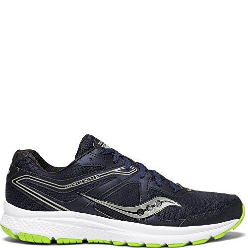 Saucony Men's Cohesion 11 Running Shoe, Navy/Slime, 10 Medium US