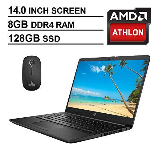 2020 Newest HP 14 Inch Premium Laptop, AMD Athlon Silver 3050U up to 3.2 GHz, 8GB DDR4 RAM, 128GB SSD, WiFi, HDMI, Windows 10 in S, Jet Black + NexiGo Wireless Mouse Bundle