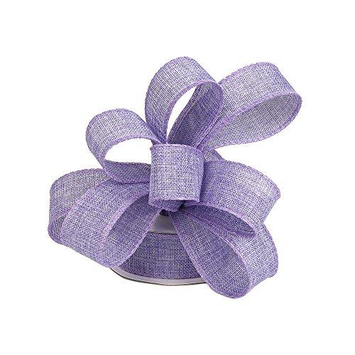 Burlap Ribbon Perfect for Wedding Home Decoration Gift Wrap Bows Made Handmade Art Crafts 1-1/2 Inch X 10 Yard Spool (Light Purple)