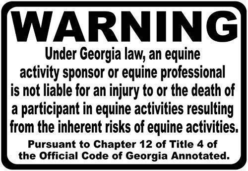 Tin Sign Fashion Georgia Equine Liability Law Sign,Inform Patrons at Your Horse Riding Facility of Your Company's Rules. Aluminum Sign Wall Plaque for Indoor Outdoor 7.8x11.8 Inch