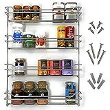 Kitcherieur Edelstahl Gewürzregal + Schrauben mit 4 Etagen 37,8x50,5x6,6cm, Gewürzhalter hängend für 24 Gewürzdosen in Küche/Outdoor für Grill da rostfrei, Küchenschrank Spice Rack Design silberfarben