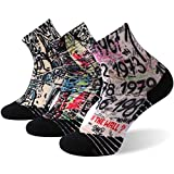 HUSO Men Women Unique Graffiti Design Socks Wired Funky Cool Athletic Running Cycling Quarter Socks 3 Pairs,Large