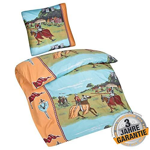 Aminata Kids süße Bettwäsche Ritter 135 x 200 cm + 80 x 80 cm aus Baumwolle mit Reißverschluss, unsere Kinderbettwäsche mit Ritterburg-Motiv ist weich und kuschelig, Pferde Tunier