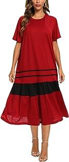 FridayIn Women's A-Line Short Sleeve Summer Red Black Splicing Scoop Neck Fashion T-Shirt Loose Dress