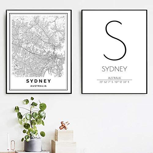 WADPJ Zwart Wit Sydney Australië kaart canvas schilderij druk muurkunst afbeelding coördinaten reizen poster afbeelding Nordic Home Decor-50x70cmx2 stuks geen lijst