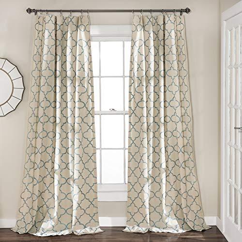 "Lush Decor Geo Window Curtain Panel Pair, 84"" x 54"", Blue"