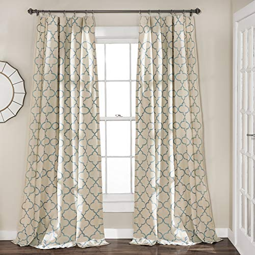 "Lush Decor Geo Window Curtain Panel Pair, 84"" x 54"", Blue"