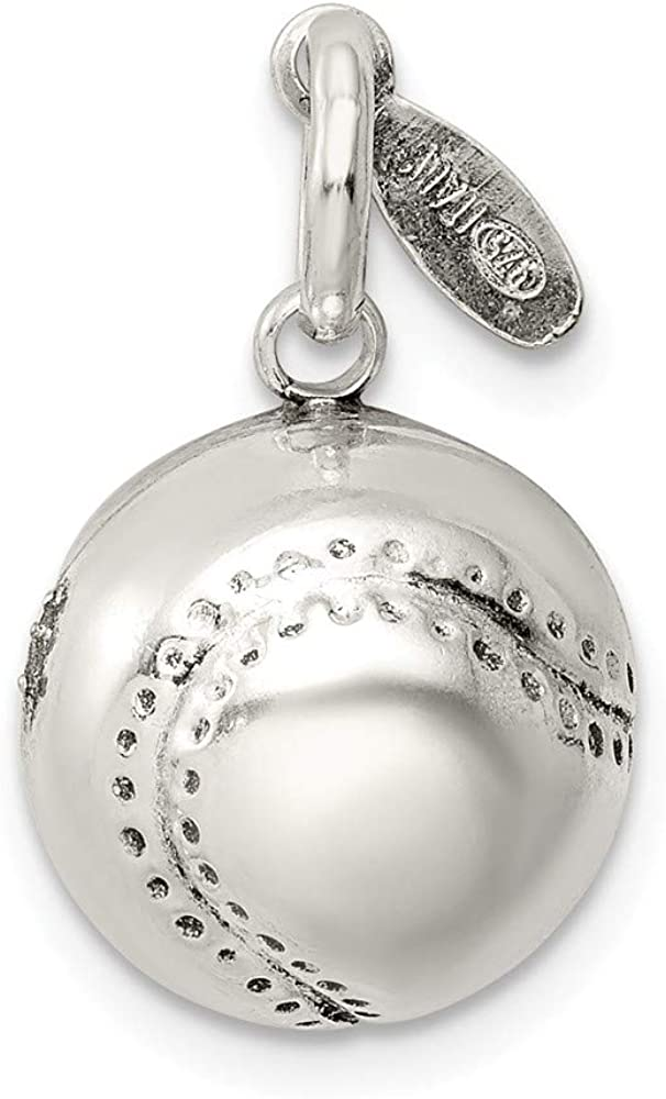 FB Large-scale sale Jewels Solid 925 Sterling Charm 3D SALENEW very popular Baseball Silver