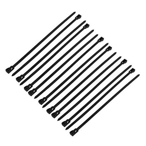 DealMux 5 mm x 200 mm bridas de nylon DIY Auto bloqueo de cable reutilizable 15pcs Negro