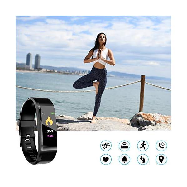 MuscleLocker Fitness Tracker, Monitor de actividad cardíaca, impermeable, pulsera inteligente con contador de pasos… 3
