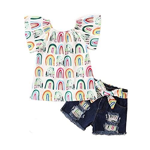 Dibiao Conjunto de Ropa para Niñas Pequeñas 2 Piezas Coloridas Camisa de Manga Corta Pantalones Cortos de Verano de Manga Corta Conjunto 100CM