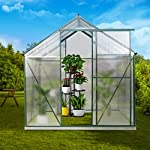 July's song greenhouse,polycarbonate walk-in plant greenhouse with window for winter,garden green house kit for backyard… 12 【extend the growing season】perfect for a first-time or seasoned home gardener, july's song walk-in greenhouses protect plant against rough weather. You can make sure that your plants are healthy and happy all year round. 【sturdy & durable】this diy greenhouse kit is made of 4mm twinwall uv/wind resistant polycarbonate panels and thickened premium aluminum frame,all this together with heavy-duty galvanized base help provide solid support for your entire plant nursery. 【multi-function design】the greenhouse for outdoor has sliding doors for easy access, roof vent for effortless ventilation, and rain gutters for effective drainage of water and snow.