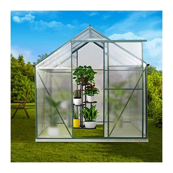 July's song greenhouse,polycarbonate walk-in plant greenhouse with window for winter,garden green house kit for backyard… 4 【extend the growing season】perfect for a first-time or seasoned home gardener, july's song walk-in greenhouses protect plant against rough weather. You can make sure that your plants are healthy and happy all year round. 【sturdy & durable】this diy greenhouse kit is made of 4mm twinwall uv/wind resistant polycarbonate panels and thickened premium aluminum frame,all this together with heavy-duty galvanized base help provide solid support for your entire plant nursery. 【multi-function design】the greenhouse for outdoor has sliding doors for easy access, roof vent for effortless ventilation, and rain gutters for effective drainage of water and snow.