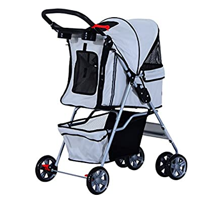PawHut Pet 4 Wheels Travel Stroller Dog Cat Pushchair Trolley Puppy Jogger Folding Carrier (Grey) 8
