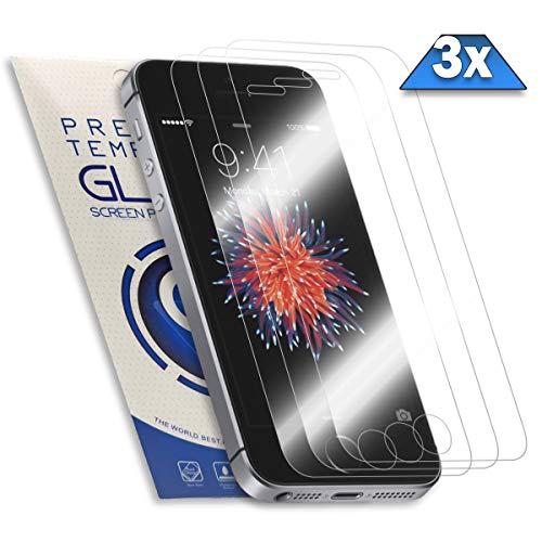 PrimeGlass Panzerglas für iPhone SE, 5S, 5C, 5, 3X Schutzfolie aus 9H Echt Glas, Schutzglas Panzerglasfolie | 3 Stück