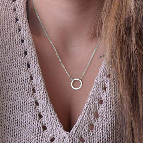 TseenYi Collar con colgante de círculo de plata Karma Gargantilla Collar de cadena de moda Collares de joyería de cadena para mujeres y niñas (plata)