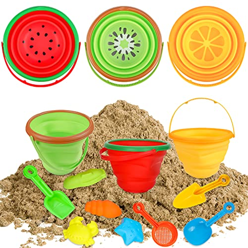 Foldable Beach Bucket, Sand Toys Set Silicone Collapsible Bucket Summer Outdoor Camping and Fishing Tub with Sand Molds Shovels and Rakes for Kids Toddlers Boys Girls 2.5L 3PCS