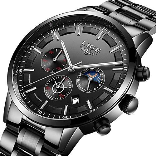 Herren-Uhr LIGE Business Analog Quarzuhr Wasserdicht Edelstahl Chronographen Uhr Schwarz …