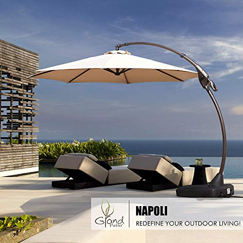 Grand patio Deluxe Napoli 12 FT Curvy Aluminum Offset Umbrella, Patio Cantilever Umbrella with Base, Red