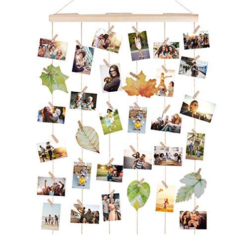 Bilderrahmen Collagen,AIEVE Fotowand Holzbilderrahmen Fotorahmen Wanddekoration mit 30 Stück Klammer um mehre Fotos Aufzuhängen für DIY Basteln Geschenk