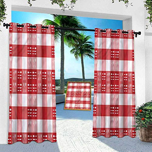 Aishare Store Patio Outdoor Curtain, Checkered,Cutlery Dining Tile, 52' x 84' Heavy Duty Indoor Panel for Porch Balcony Pergola Canopy Tent Gazebo Window(1 Panel)