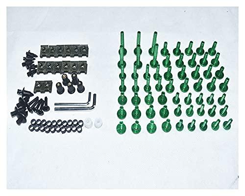 DFMY CNC Tornillos de carenado completos Cuerda Tornillos Tuercas Nuts Fit para Kawasaki ZZR400 1993-2007 (Color : Green)