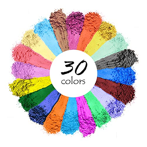 Mica Powder, 30 Color Resin Pigment, Natural Cosmetic Grade Shimmer Mica Powder for Epoxy Resin/Bath Bombs/Candle/Soap/Lip Gloss/Slime. Candle Dye,Soap Making Dye,Resin dye.