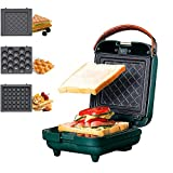 3-in-1 Sandwich Waffle Eggette Maker Portable Cooking Non-stick Coated Detachable Bakeware Plates Electric Panini Press Double-sided Heating Breakfast Toaster