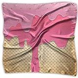 Jxrodekz Bufanda Crema de Fresa Verter en oblea Cuadrado pequeño Abstracto para Mujer Bufandas de Seda Pañuelo para el Cabello