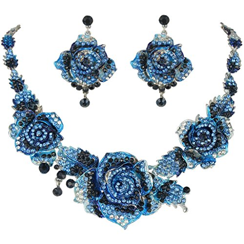 EVER FAITH Silver-Tone Austrian Crystal Blooming Rose Flower Necklace Earrings Set Sapphire-Color