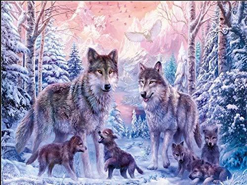 5D DIY diamante pintura animales invierno Lobo Kit taladro completo bordado mosaico arte imagen de diamantes de imitación decoración regalo A11 30x40cm