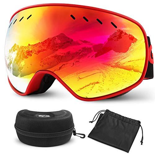 Glymnis Gafas de Esquí Máscara Gafas Esqui Snowboard OTG Super Gran Angular UV400 Protección para Hombre Mujer Adultos Jóvenes (Rojo)