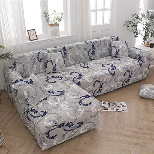 L-vormige hoekbank Kussenovertrekken Gedrukt Elastische stretch sectionele bank Sofa Cover funda sofa chaise lounge Woonkamer-Kleur 7_4 zits 235-300cm