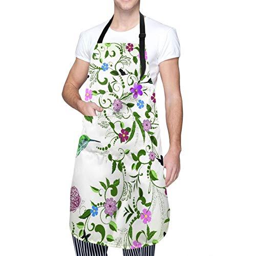 DAHALLAR Ajustable Colgante de Cuello Personalizado Delantal Impermeable,Colibrí arremolinadas hojas con flores en flor Resumen viniendo de la primavera,Babero de Cocina Vestido con 2 Bolsillos