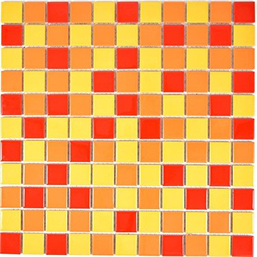 Mosaik Fliese Keramik gelb orange rot glänzend für WAND BAD WC DUSCHE KÜCHE FLIESENSPIEGEL THEKENVERKLEIDUNG BADEWANNENVERKLEIDUNG Mosaikmatte Mosaikplatte 1 Matte