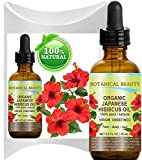 Organic HIBISCUS OIL (Hibiscus Sabdariffa) JAPANESE 100 Pure Natural VIRGIN UNREFINED COLD PRESSED Anti Aging, Vitamin E oil for FACE, SKIN, HAIR GROWTH 0.5 Fl.oz.- 15 ml by Botanical Beauty