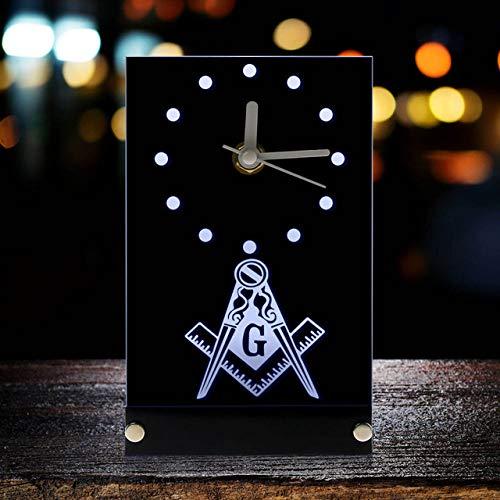 Inveroo Masónico Masón Albañil Electrónico Reloj De Mesa Masónico Signos Cuadrado Y Brújula Masón Logo Reloj Reloj Reloj con Luz De Fondo Led
