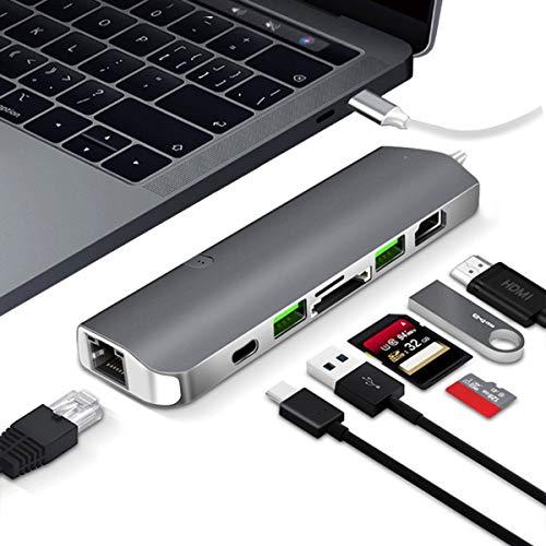 EJOYDUTY USB C Hub Adapter, 7 in 1 Type C Dongle, voor 2018/2017/2016 MacBook Pro met 4K HDMI, Gigabit Ethernet, PD laadpoort, TF/SD kaartlezer, USB 3.0 poorten