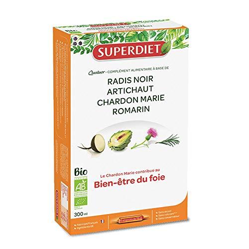 Super diet - Quatuor bio vitalité du foie-digestion - 20 x 15 ml ampoules - Pour des digestions faci