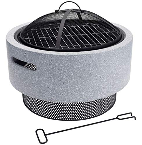 HHP Moderne Feuerschale mit Funkenfänger, Durchmesser 52cm, extrem stabil - Gewicht 10 kg, Abnehmbarer Grillrost