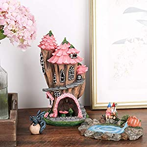 fairy garden gnome accessories kit hand painted miniature solar powered fairy house dragon figurine set of 4 pcs indoor outdoor ornaments gifts for girls boys adults