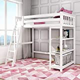 Max & Lily Solid Wood Twin-Size High Loft Bed with...