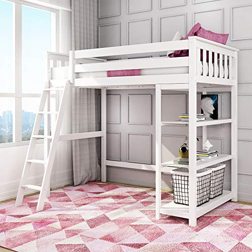 Max & Lily 180218-002 Solid Wood Twin-Size High Loft Bed with Bookcase, White