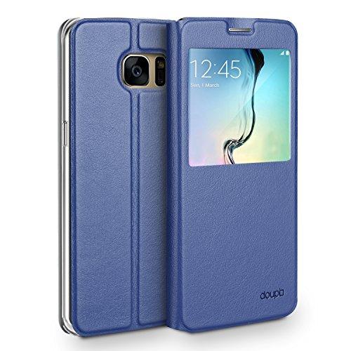 doupi FlipCase für Samsung Galaxy S7, Deluxe Schutzhülle mit Sichtfenster Magnet Verschluss Klappbar Book Style Aufstellbar Ständer, dunkel blau