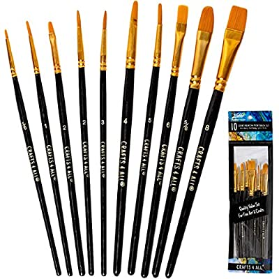 Paint Brushes Set 12 Pieces Professional Fine Tip Paint Brush Set Round Pointed Tip Nylon Hair Artist Acrylic Paints Brush for Watercolor Oil Painting by Crafts 4 ALL